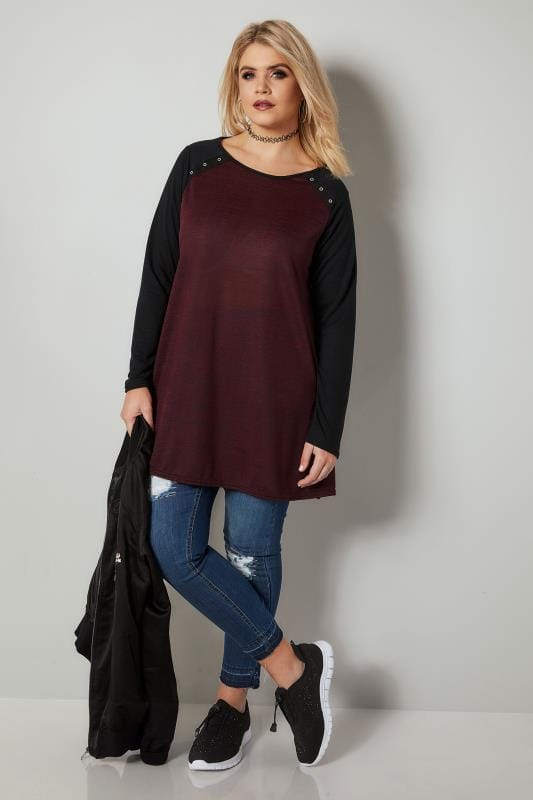 Dark Red Knitted Jersey Top With Eyelet Cut Outs