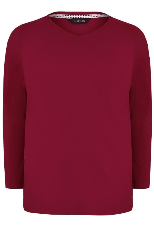 Dark Red Long Sleeved V-Neck Jersey Top