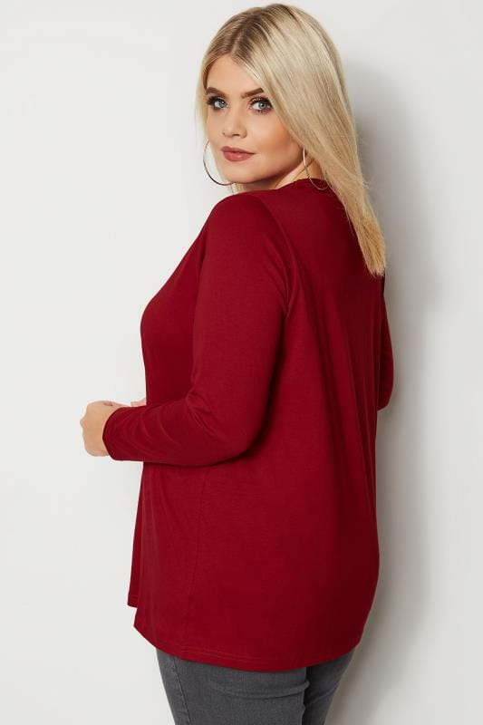 Plus Size Basic T-Shirts & Vests Dark Red Long Sleeved V-Neck Jersey Top