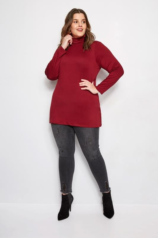 Plus Size Jersey Tops Dark Red Roll Neck Top