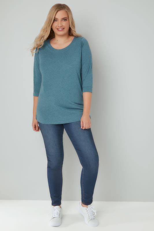 Dark Turquoise Band Scoop Neckline T-Shirt With 3/4 Sleeves