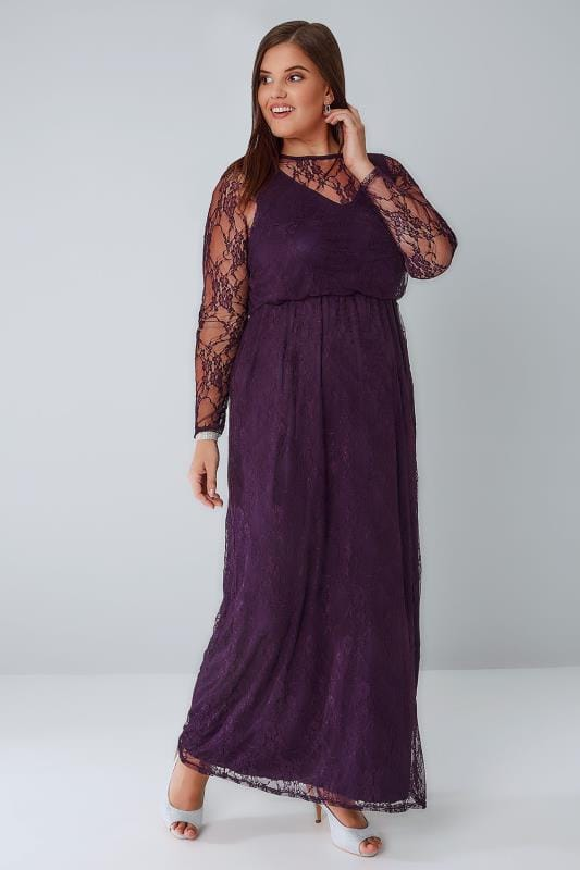 Maxi Dresses YOURS LONDON Deep Purple Lace Long Sleeve Maxi Dress With Elasticated Waist 156065
