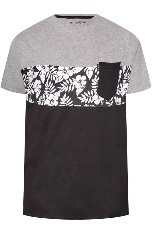 LOYALTY & FAITH Grey & Black Tropical Print T-Shirt