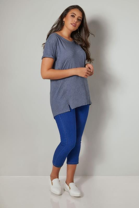 Denim Blue Boyfriend T-Shirt With Front Split Detail
