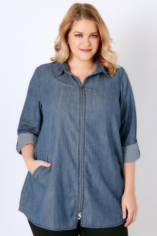Denim Blue Chambray Zip Through Shacket With Pockets