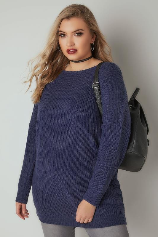 Denim Blue Chunky Knit Jumper With V-Back Cut Out