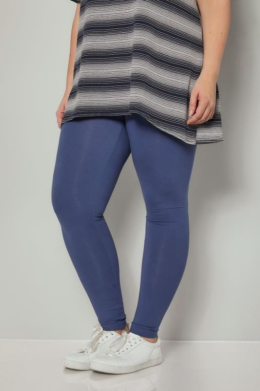 Plus Size Basic Leggings Denim Blue Cotton Essential Leggings