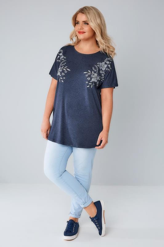Denim Blue Jersey Top With Mirror Embroidered Detail