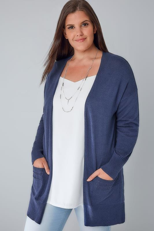Cardigans Denim Blue Longline Cardigan With Pointelle Pocket & Cuff Detail 103080