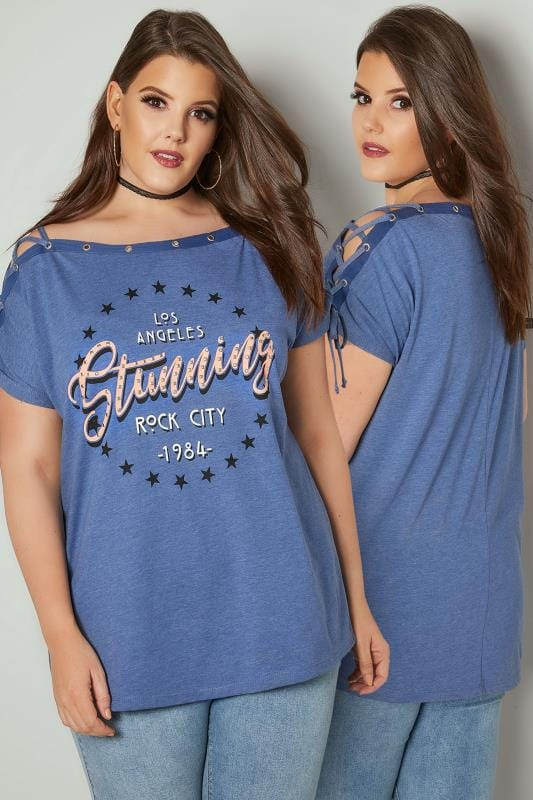 Denim Blue 'Los Angeles' Bardot Top With Lace Up Sleeves & Stud Details