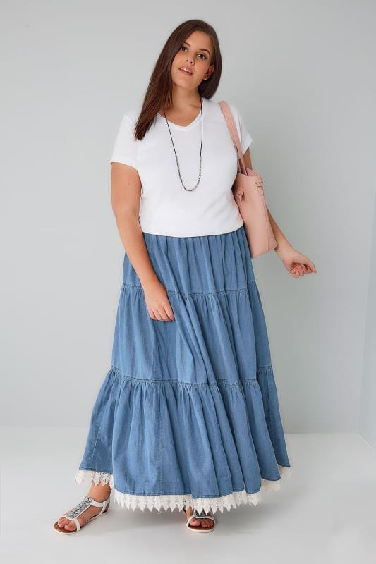 Denim Blue Tiered Maxi Skirt With Lace Trim Hem