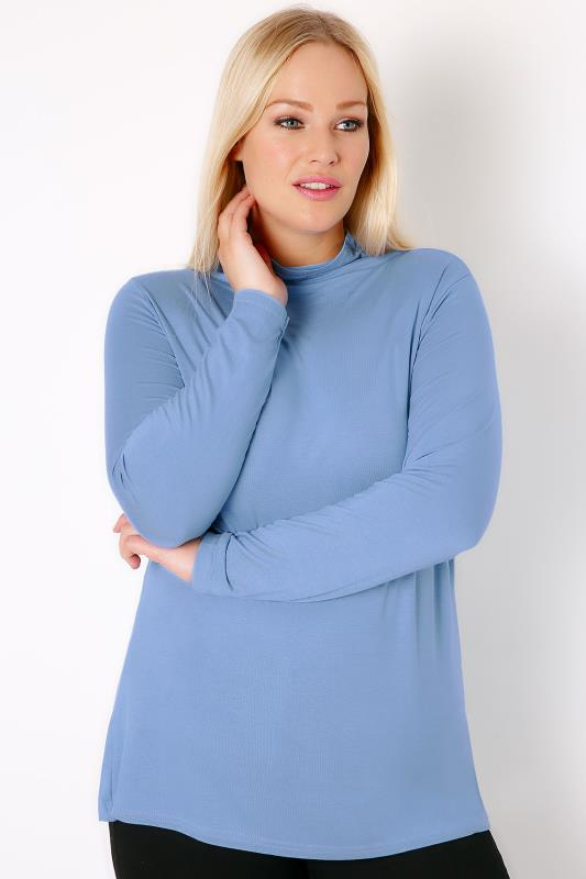 Day Tops YOURS LONDON Denim Blue Turtle Neck Long Sleeved Soft Touch Jersey Top 156032