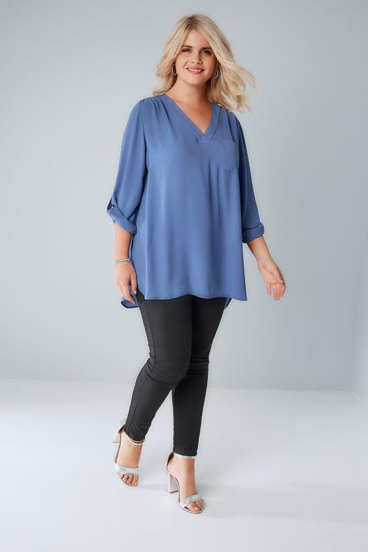 YOURS LONDON Denim Blue Woven V-Neck Blouse With Pocket