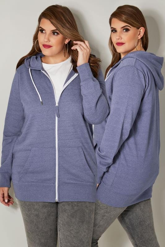 Denim Blue Zip Through Hoodie
