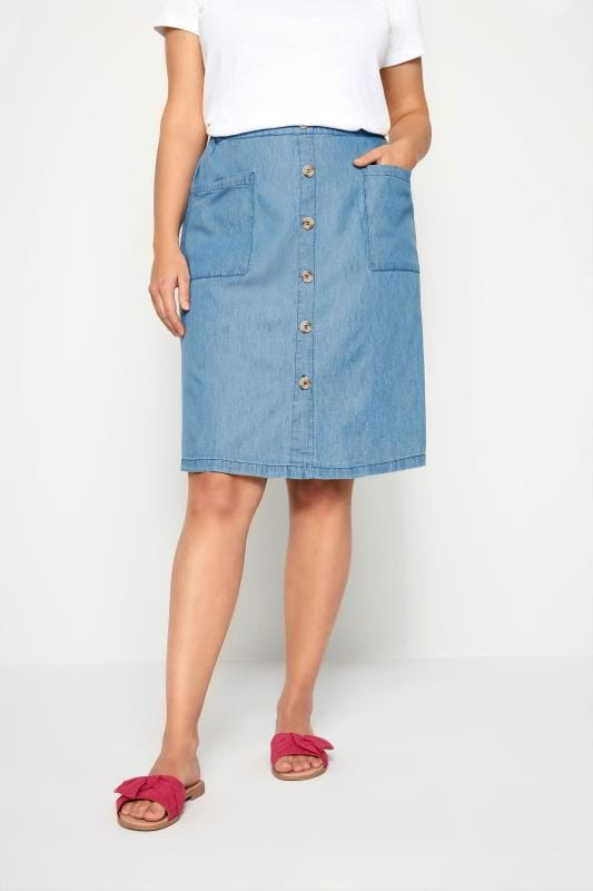 Plus Size Elasticated Waist Skirts Denim Chambray Button Skirt