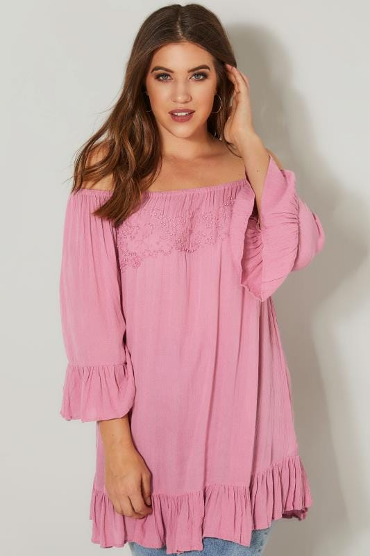Dusky Pink Bardot Gypsy Top With Beaded Details & Flute Sleeves