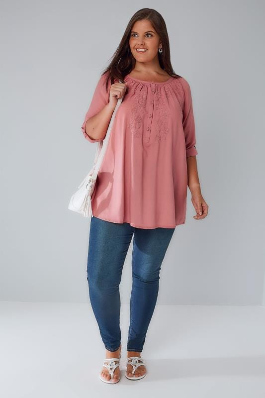 Dusky Pink Button Up Gypsy Blouse With Embroidery Detail
