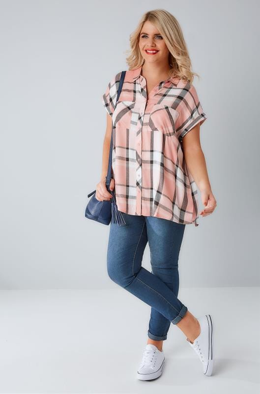 Dusky Pink Checked Shirt With Short Grown-On Sleeves