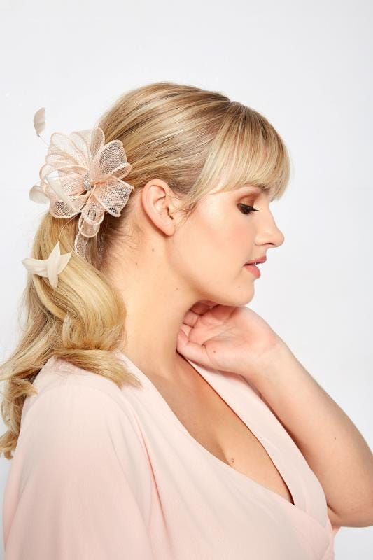 Plus Size Hair Accessories YOURS LONDON Dusky Pink Floral Diamante Fascinator