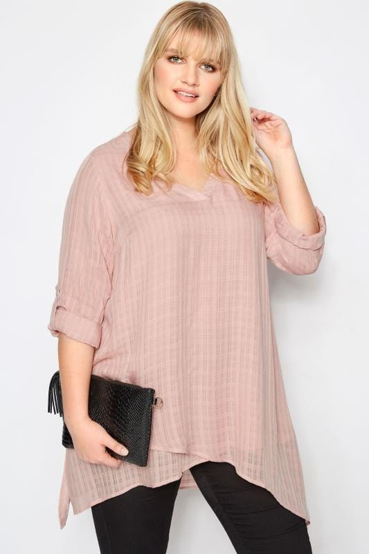 Plus Size Blouses Dusky Pink Layered Blouse