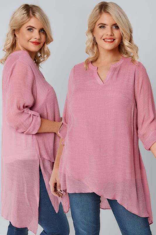 Dusky Pink Layered Blouse With Notch Neck & Dipped Hem