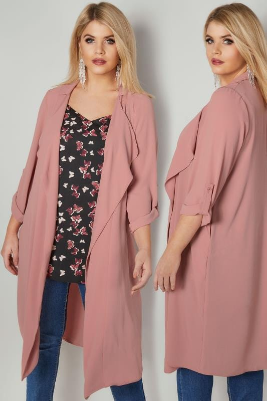 Dusky Pink Lightweight Duster Jacket With Waterfall Front & Roll-Up Sleeves