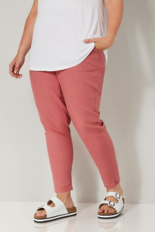 Dusky Pink Linen Mix Pull On Tapered Trousers With Pockets
