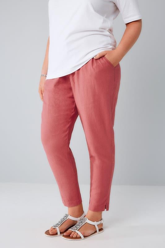 Plus Size Linen Mix Trousers Dusky Pink Linen Mix Pull On Tapered Trousers With Pockets