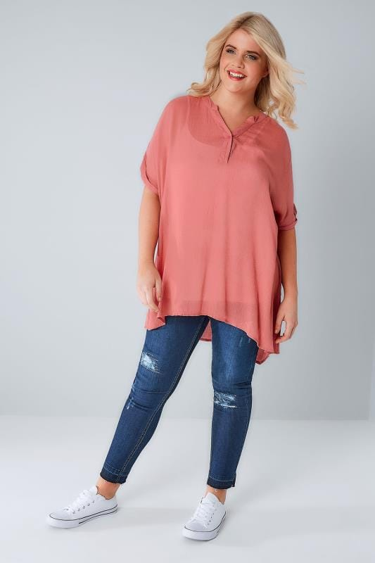 Dusky Pink Oversized Crinkled Shirt With Curved Hem