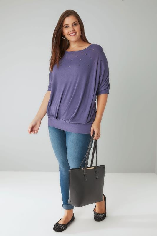Dusky Purple Studded Slouch Jersey Top With Band Hem