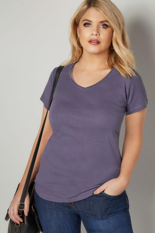 Plus Size T-Shirts Dusky Purple Short Sleeved V-Neck Basic T-Shirt