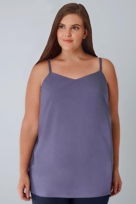 Plus Size Vests & Camis Dusky Purple Woven Cami Top With Side Splits