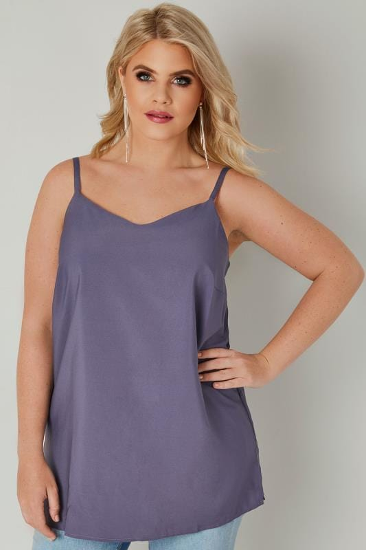 Dusky Purple Woven Cami Top With Side Splits
