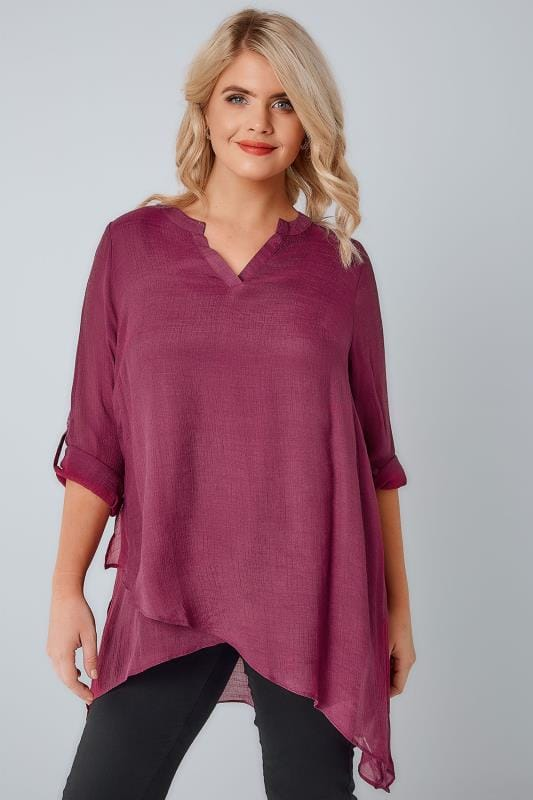Dusky Rose Pink Layered Blouse With Notch Neck & Dipped Hem