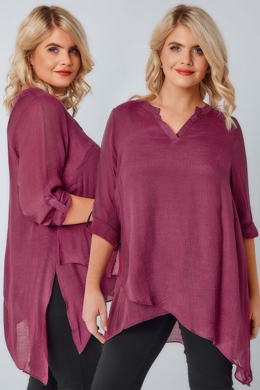 Plus Size Blouses Dusky Rose Pink Layered Blouse With Notch Neck & Dipped Hem