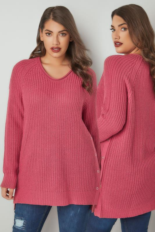 Dusty Pink Chunky Knit V-Neck Jumper With Popper Sides