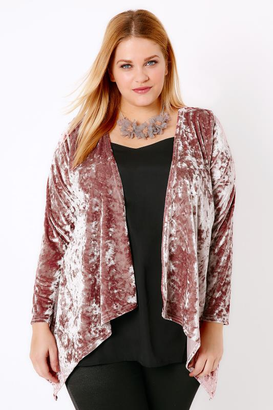 Dusty Pink Crushed Velvet Waterfall Cardigan
