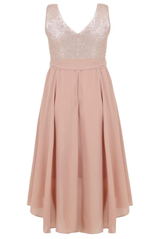Dusty Pink Midi Dress With Sequin Bodice & Waist Tie