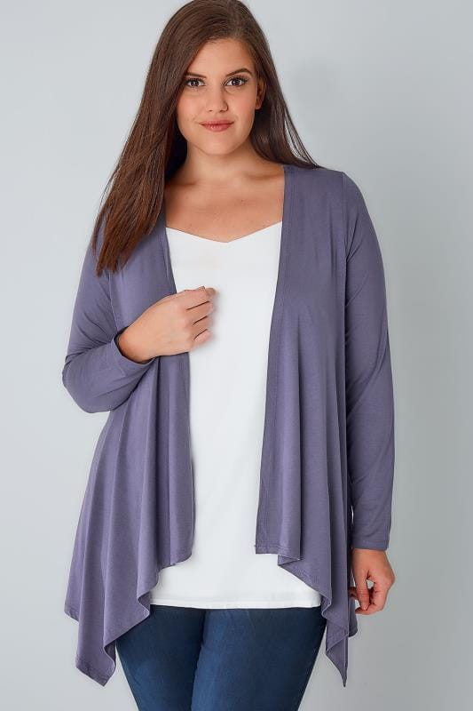 Plus Size Jersey Cardigans & Shrugs Dusky Purple Edge To Edge Waterfall Jersey Cardigan