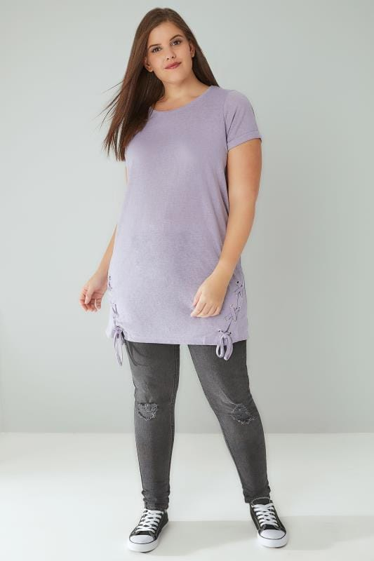 Dusty Purple Fine Knit Top With Lace Up Hem