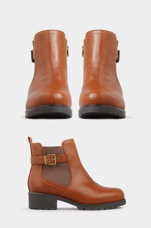 Plus Size Booties Tan Chelsea Buckle Ankle Boots in EEE Fit
