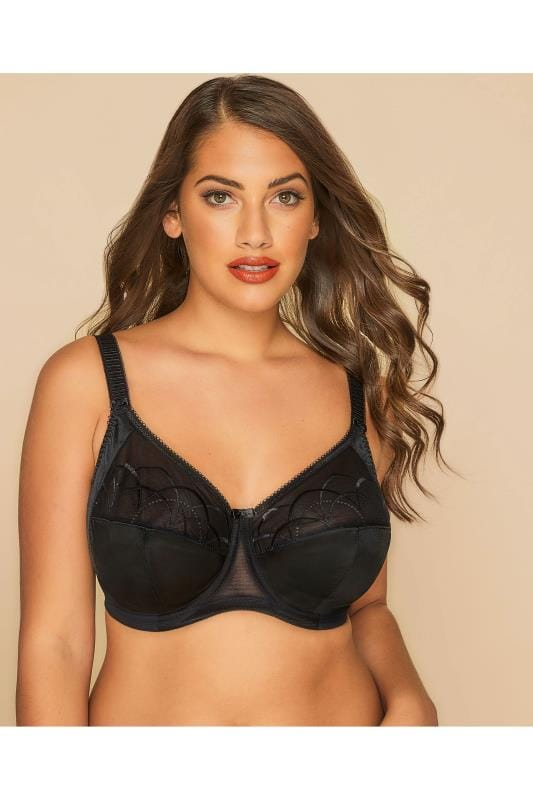 ELOMI Black Embroidered Underwired Full Cup Cate Bra