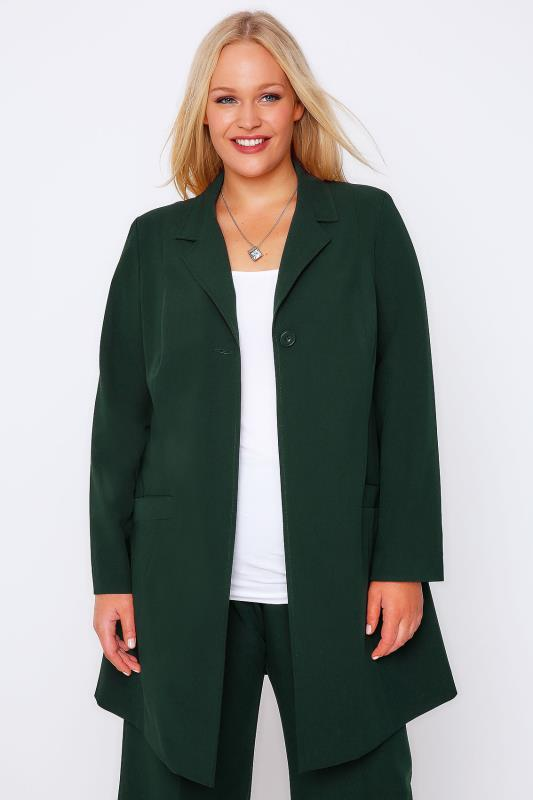 Emerald Green Longline Blazer Jacket With Single Button
