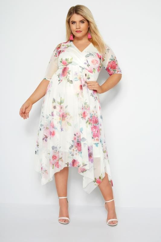 adb4521bcd48 Plus Size Floral Dresses White Floral Mesh Midi Dress With Hanky Hem