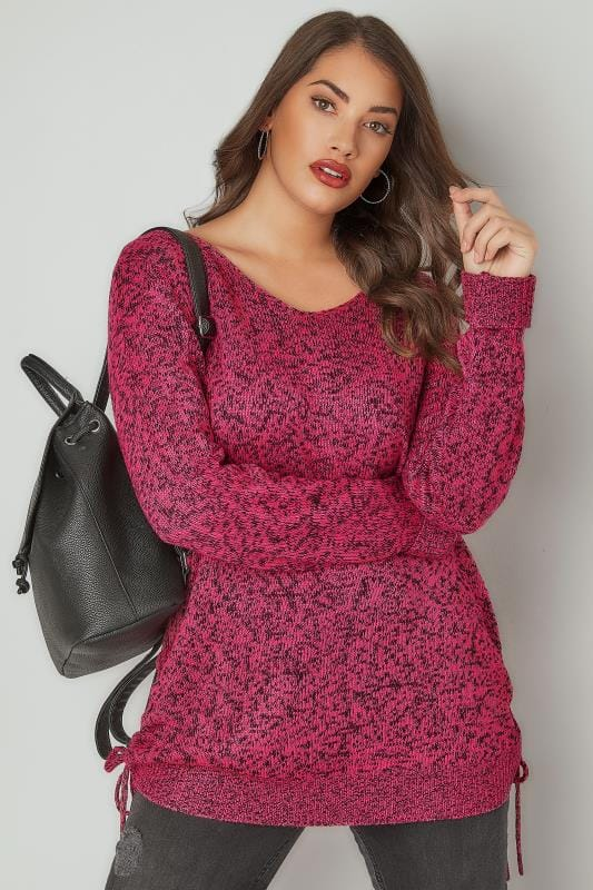 Fuchsia Pink Knitted V-Neck Jumper With Lace Up Sides