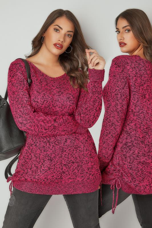 Plus Size Jumpers Fuchsia Pink Knitted V-Neck Jumper With Lace Up Sides