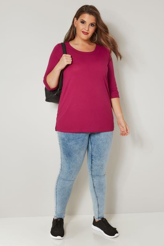 Fuchsia Pink Seamed Scoop Neck Top
