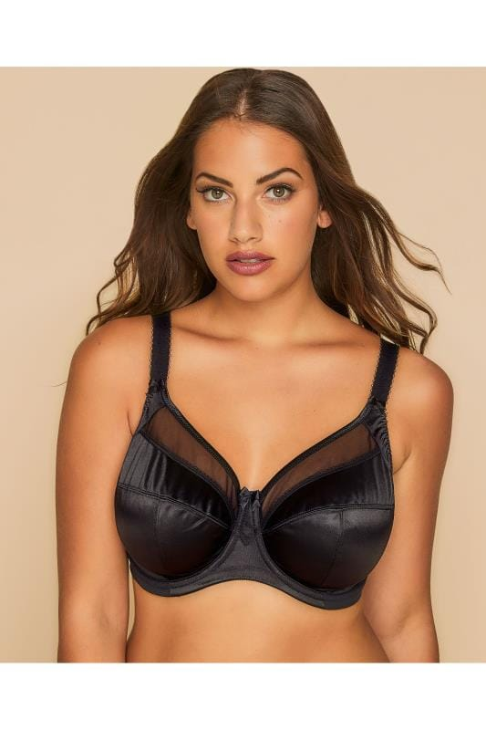 GODDESS Black Mesh Insert Soft Cup Non-Wired Bra