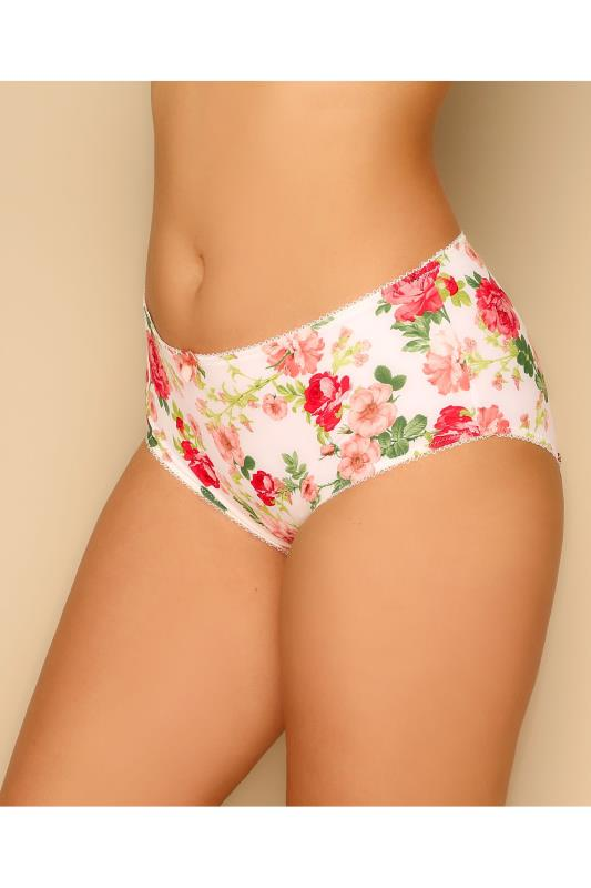 Plus Size Briefs GODDESS White & Multi Floral Print Brief