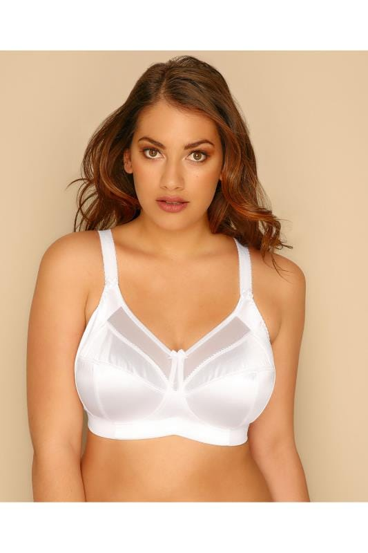 Bras Non Wire GODDESS White Non-Wired Silky Keira Bra With Mesh Inserts 146032